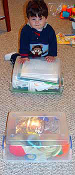 Step Toddlerobics with plastic bins