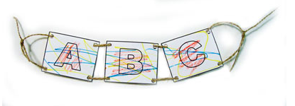 Toddlers, Activities, Crafts, Games (www.toddlertoddler.com): ABCD on a String Sign