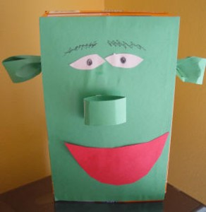 Toddlers Activities & Games: Cereal box Shrek or monster puppet