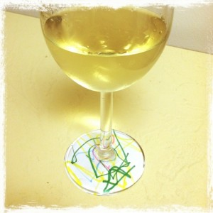Kids artwork wine glass charms