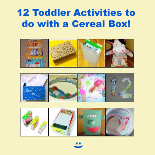 12 Toddler Activities, Games, Crafts, with a Cereal Box