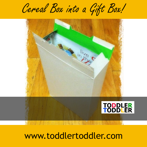 Toddler Activities: Cereal Box into a Gift Box (www.toddlertoddler.com)