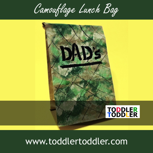Toddler Activities Games (www.toddlertoddler.com) : Paint a Camo Lunch Bag