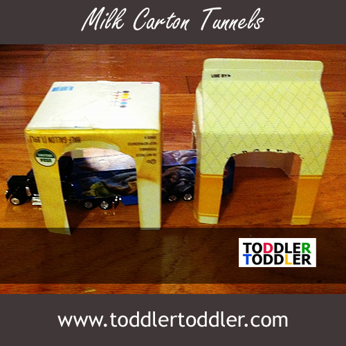 Toddler Activities Games (www.toddlertoddler.com) : Easy Milk Carton Tunnels
