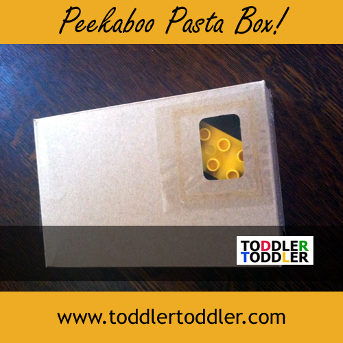 Toddler activities, games, crafts (www.toddlertoddler.com): Peekaboo Pasta Box Game